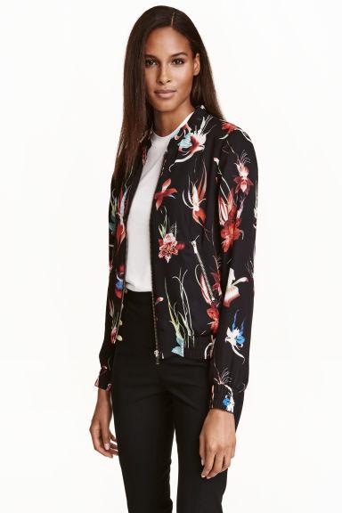 Patterned bomber jacket - Black/Floral - | H&M GB