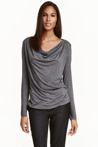 Draped jersey top - Dark grey marl -  | H&M CN 1