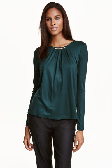 Long-sleeved top - Dark green - Ladies | H&M CN 1