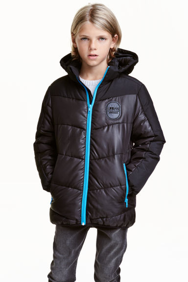 Padded jacket with a hood - Black - Kids | H&M CN 1