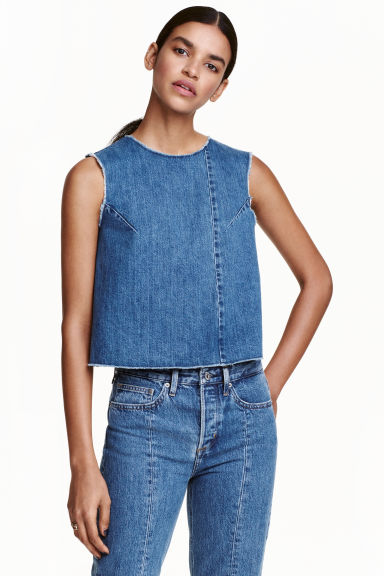 Sleeveless denim top - Denim blue - Ladies | H&M CN 1