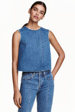 Top sans manches en denim - Bleu denim - FEMME | H&M FR 1