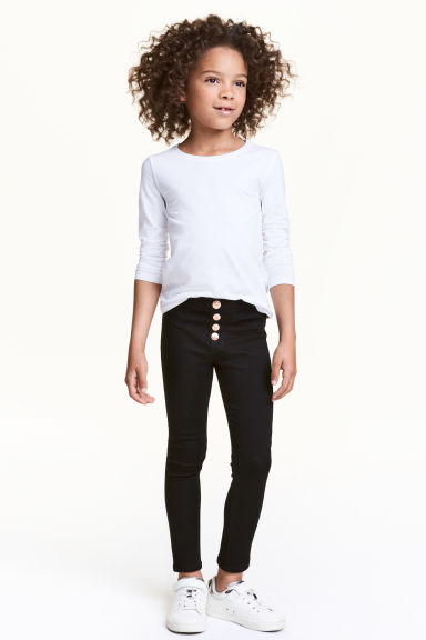 Leggings in denim con bottoni - Nero - BAMBINO | H&M IT 1