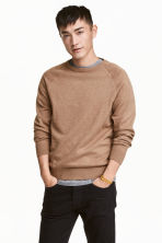 Fine-knit jumper - Dark beige marl - Men | H&M CN 1