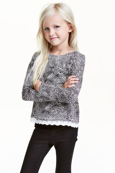 Jersey top with a lace trim - Black/White - Kids | H&M CN