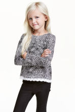 Jersey top with a lace trim - Black/White - Kids | H&M CN 1