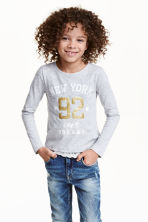 Jersey top with a lace trim - Light grey/New York - Kids | H&M CN 1