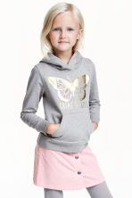 Printed hooded top - Grey marl/Butterfly - Kids | H&M CN 1