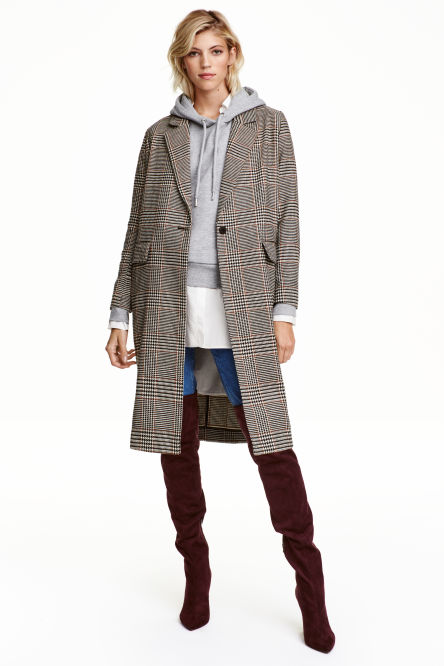 Dogtooth-patterned coat