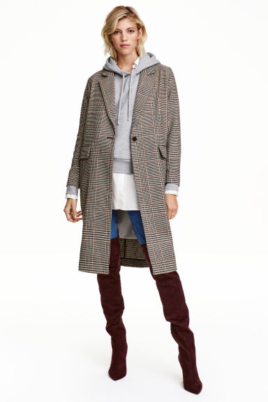 Dogtooth-patterned coat - Light beige - Ladies | H&M GB 1