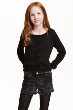 Fine-knit cardigan with frills - Black - Kids | H&M CN 1