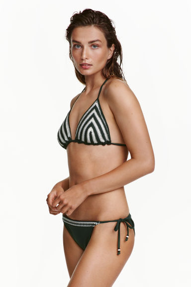 Tie tanga bikini bottoms - Dark green - Ladies | H&M GB