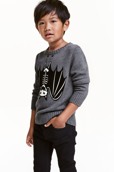 Cotton jumper - Dark grey/Bat - Kids | H&M CN 1