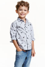 Printed cotton shirt - Light grey/Bat - Kids | H&M CN 1