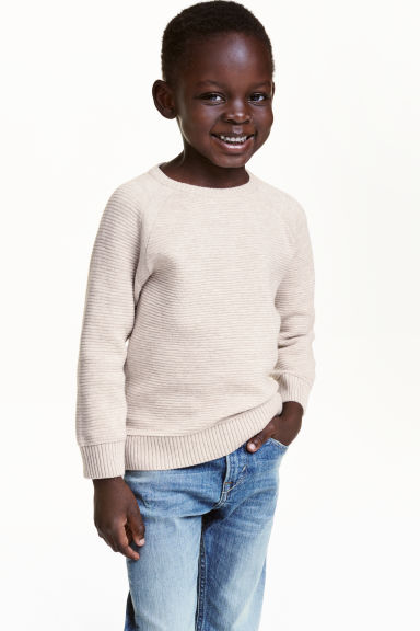 Fine-knit jumper - Light beige marl - Kids | H&M CN 1
