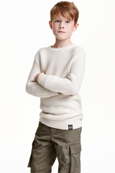 Textured jumper - Light beige - Kids | H&M CN