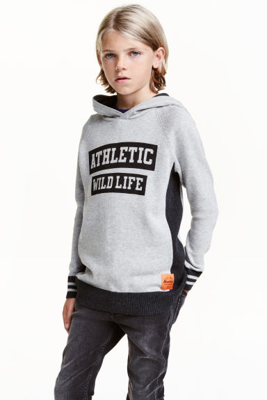 Fine-knit hooded jumper - Grey -  | H&M CA 1