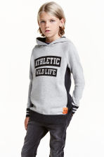 Fine-knit hooded jumper - Grey -  | H&M CN 1