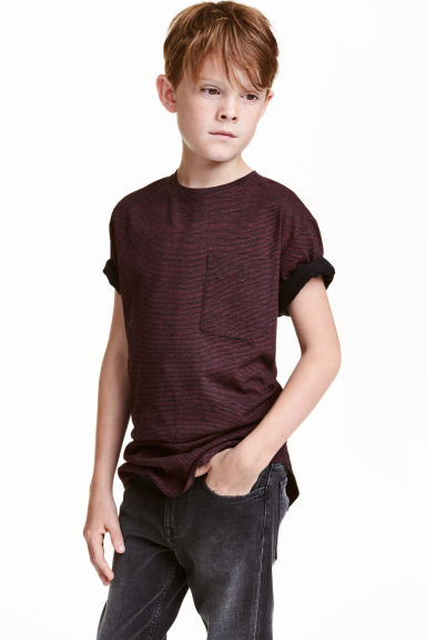 Long T-shirt - Burgundy/Striped - Kids | H&M CN 1