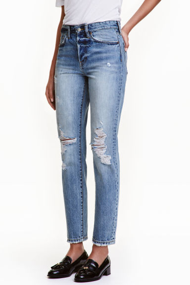 Vintage High Cropped Jeans - Denim blue trashed - Ladies | H&M CN 1