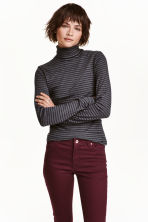 Ribbed polo-neck jumper - Dark grey/Striped - Ladies | H&M CN 1
