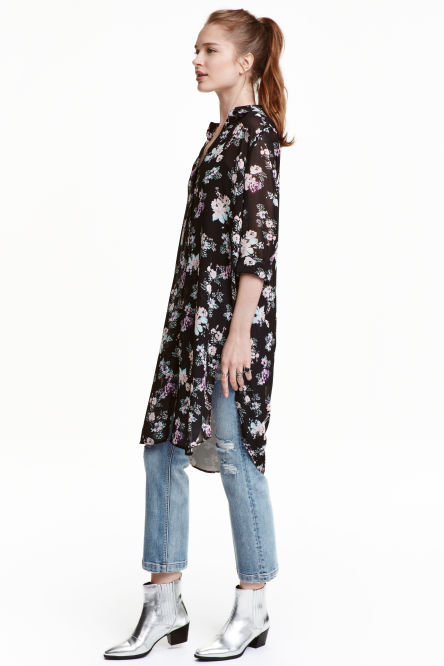 Long chiffon shirt