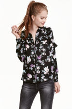 Shirt with a frilled yoke - Black/Roses - Ladies | H&M CN 1
