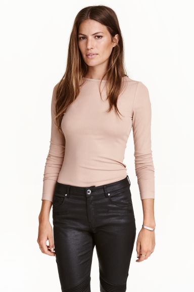 Ribbed top - Powder beige -  | H&M CN