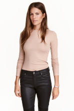 Ribbed top - Powder beige - Ladies | H&M CN 1