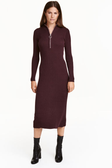 Ribbed dress - Plum - Ladies | H&M CN 1