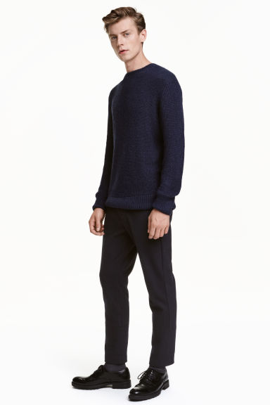 Wool-blend cigarette trousers - Dark blue - Men | H&M CN