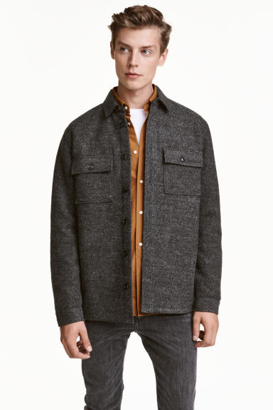 Wool-blend shirt jacket - Dark grey - Men | H&M GB