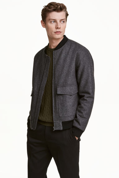 Bomber jacket in a wool blend - Dark grey marl - Men | H&M CN