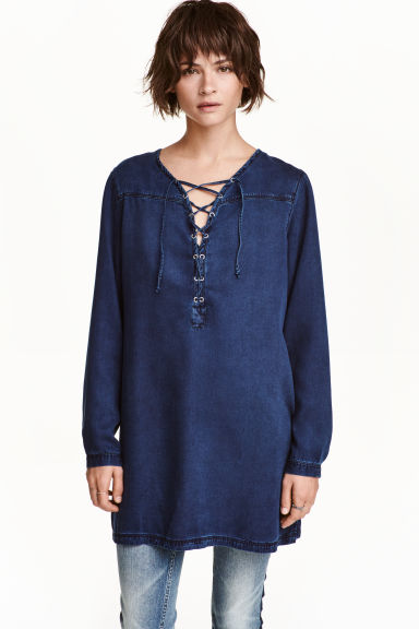 Lyocell denim tunic - Dark denim blue - Ladies | H&M CA 1