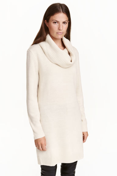 Polo-neck jumper - Natural white marl - Ladies | H&M CA 1