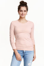 Long-sleeved jersey top - Powder pink - Ladies | H&M CN 1
