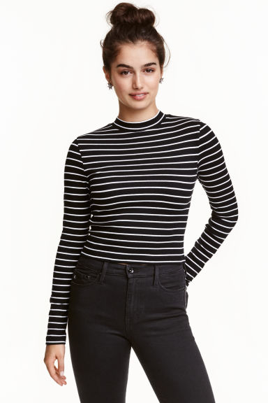Short polo-neck top - Black/Striped - Ladies | H&M GB 1