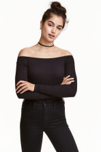 Off-the-shoulder top - Black - Ladies | H&M 2