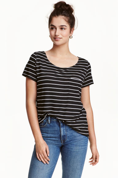 Jersey top - Black/Striped - Ladies | H&M CN 1