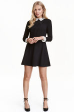 Dress with a lace collar - Black - Ladies | H&M GB 1