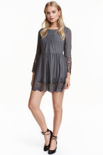 Chiffon dress with lace - Dark grey - Ladies | H&M CN 1