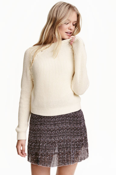 Knitted jumper - Natural white - Ladies | H&M CN 1