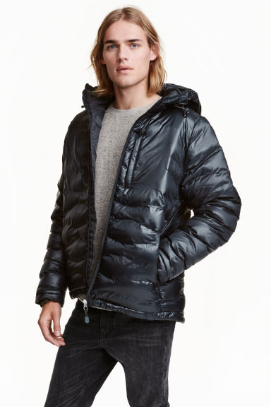 Down jacket with a hood - Dark blue - Men | H&M CN 1