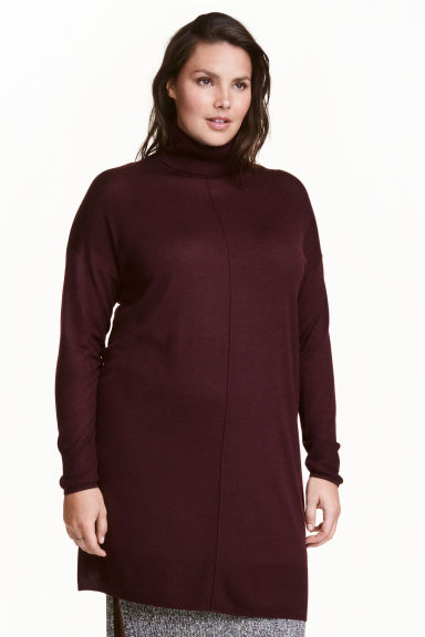H&M+ Tunica in maglia fine - Bordeaux mélange -  | H&M IT 1