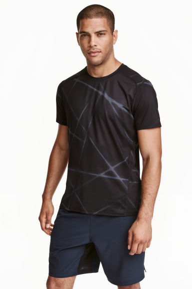 Short-sleeved sports top - Dark grey/Patterned - Men | H&M CN 1
