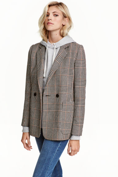 Double-breasted jacket - Light beige/Dogtooth - Ladies | H&M GB 1