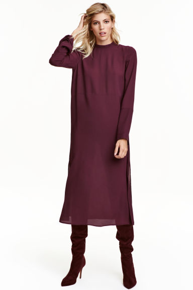 Crêpe dress - Plum - Ladies | H&M CA 1