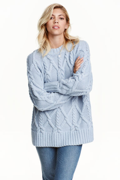 Cable-knit jumper - Light blue -  | H&M GB 1