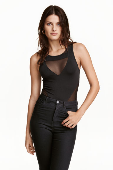 Body with mesh details - Black - Ladies | H&M CN 1