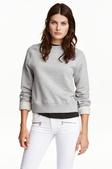 Camisola sweat curta - Cinzento mesclado -  | H&M PT